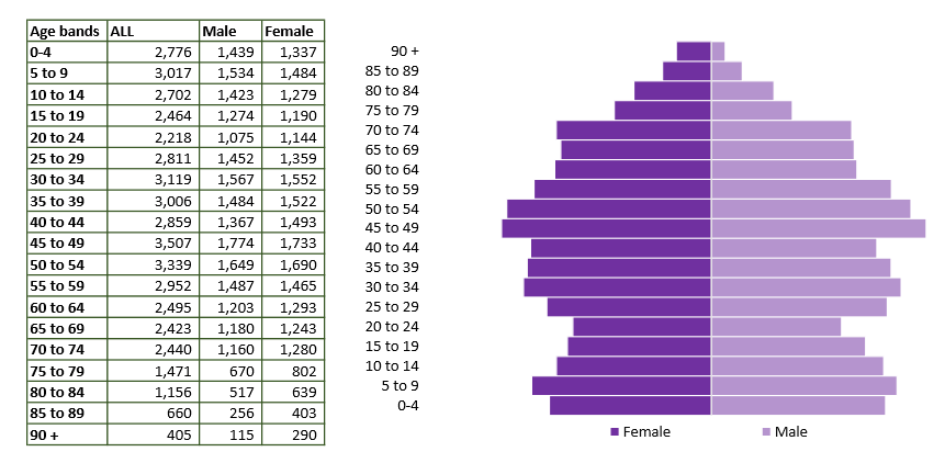 Trowbridge population pyramid