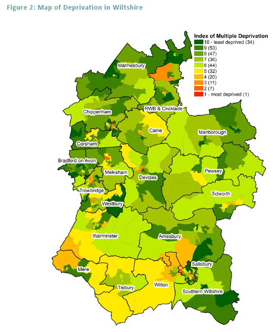 deprivation map of Wilts
